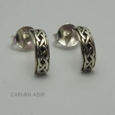 Solid 925 Sterling Silver Stud Earrings / Ear Studs Celtic Design New Gift Bag