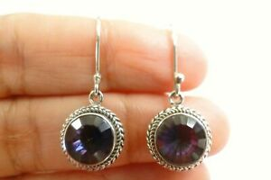Round Mystic Topaz Cord Edged 925 Sterling Silver Dangle Drop Earrings