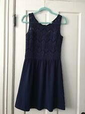 NWOT LILLY PULITZER NAVY BLUE DRESS  LACE OVERLAY SIZE MED