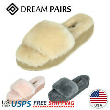 DREAM PAIRS Womens Sheepskin Faux Fur Slide Fluffy Comfy Winter House Slippers