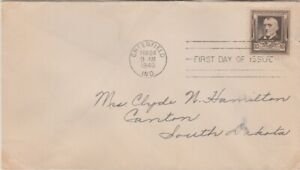 """United States-1940 10 c sepia Famous Americans issue """"Poet""""  First Day Cover"""