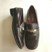Ralph Lauren Lauren Penny Loafers Brown Leather Womens Size 7B Made In Brazil
