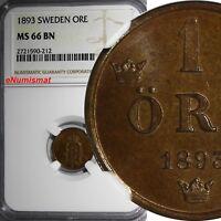 SWEDEN Oscar II Bronze 1893 1 ORE NGC MS66 BN KEY DATE TOP GRADED BY  NGC KM#750