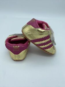 Gold Adidas Original Soft Sole Crib Shoes Sneakers Size Newborn - 12 Months