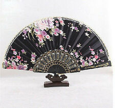 Asian Chinese Hand Held Folding Floral Silk Lace Dance Party Wedding Fan Black