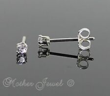 Geniune Real SOLID 925 STERLING SILVER Mini 2mm Simulated Diamond Studs Earrings