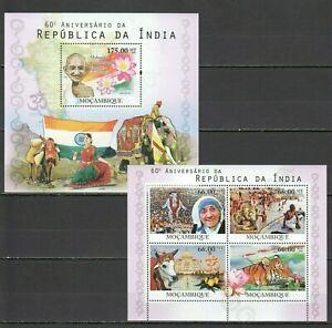 BC1127 2010 MOZAMBIQUE ANNIVERSARY INDIA MAHATMA GANDHI MOTHER TERESA BL+KB MNH