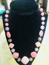 Jay King Carved Ginger Flower Stone, Lilac Quartz & Black Agate Necklace, DTR