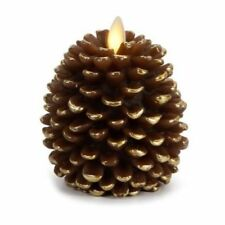 Battery Operated Unscented Pillar Pine Cone Flameless Candles Home Decor Brown