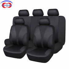 9PCS Universal Car Seat Covers Full Set Washable Cushioned Polyester Black Cover