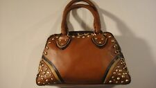 BELLA by DANA Leather Leopard Studded Purse Braided Straps Premier Ouality Rare