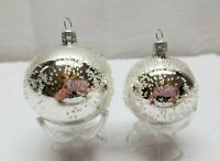 Vintage Glass Christmas Tree Ornaments Bauble Ball Polka Dot Silver Snow Spotted