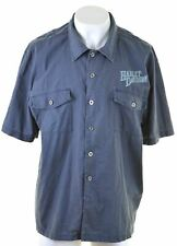 HARLEY DAVIDSON Mens Shirt Short Sleeve 2XL Blue Cotton  AG03