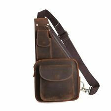 Vintage Retro Men's Leather Sling Bag Chest Pack Messenger Shoulder Bag Backpack