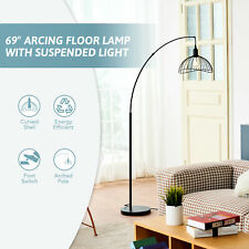 """5'9"""" Modern Arched Standing Floor Lamp for Reading Room Bedroom Office Black"""