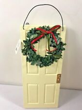 "Raz Imports! 10.5"" Door Ornament. Cream door with wreath! Christmas home decor!"
