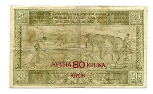 Yugoslavia (P18) 80 Kronen on 20 Dinara 1919 aVF
