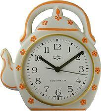 23611910F Keramik Teekannen Uhr orange  Blumen handbemalt, opt.Fehler Funk,Glas