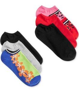 Hue Womens Socks Sz OS Floral Multi Color Cotton Liner 6 Pack Sock U6421 797