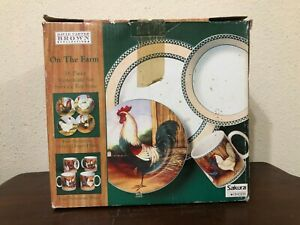 David Carter Brown On The Farm Rooster 16 Piece Set Service For 4 Stoneware WB