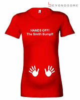 HANDS OFF THE BUMP PERSONALISED FUN MATERNITY T-SHIRT PREGNANCY TOP BABY GIFT