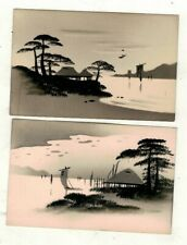 More details for two japan old genuine hand painted postcards sailing boats, house hut ,