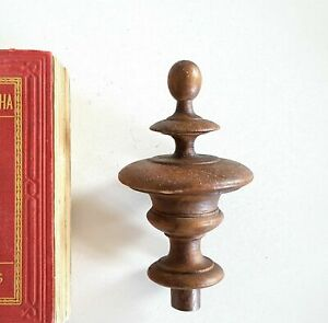 """Antique vintage turned wood post finial Architectural Furniture salvage 4.25"""""""