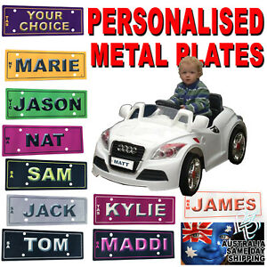 NUMBER PLATE CUSTOM KIDS RIDE ON PEDAL ELECTRIC CAR Trike Truck Toy 14X6cm METAL