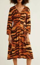 Mango Womens Tiger Print Dress, Size 8, Orange Mix, Brand New With Tags
