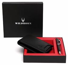 Men Black Genuine Leather Wallet With Pen Gift Set Combo