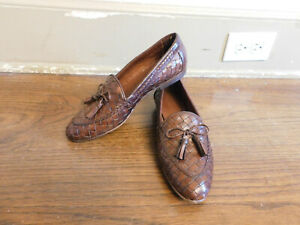 EUC Sesto Meucci Italy Nicole Dark Brown Woven Leather Bow Tassel Loafers Sz 7 W