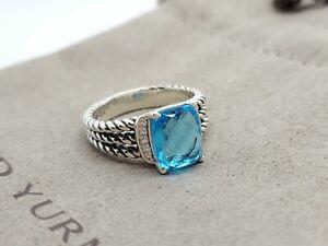 David Yurman Petite Wheaton Ring with Blue Topaz and Diamonds Size 8 AUCTION