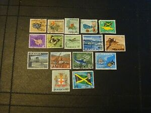 Jamaica Stamps SG 217/232 complete set of 16 all good used issued 1964-1968.