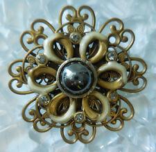 Vintage Brass Tone Filigree Hematite Brooch Pin