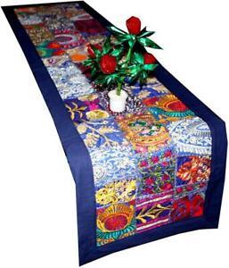 Table Runner Indian Handmade Bohemian Vintage Patchwork Blue Wall Hangings