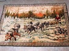 Vintage Eskimo Dog Sled wall tapestry rug Samoyed team Alaska Siberian Husky Wow