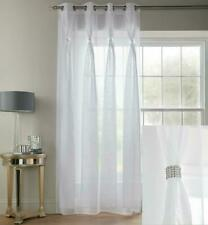 DIANA White  Diamante Linen Voile EYELET ready made Curtain panel BARGAIN