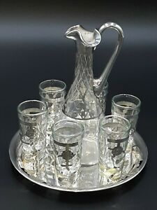 Sterling Silver Tray and 6 Sterling Shot Glasses and Carafe w/sterling inlay