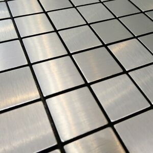 Self-adhesive Mosaic Aluminium Tile Silver Squares Kitchen Feature Decorative