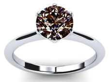 Diamond Solitaire 925 Silver Ring 2.25 Ct Vs1>Champagne Brown White Moissanite