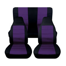 Personalized Seat Covers for a 2003 to 2006 Jeep Wrangler TJ Black and Purple