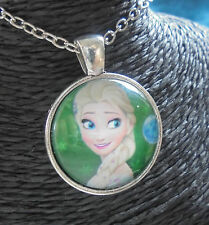 Pendant Chain Necklace Silver Glass FROZEN MOVIE Queen ELSA Arendelle + BAG Aus