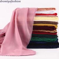 Women Lace Edge Chiffon Square Scarf Muslim Plain Long Scarves Wraps Shawl Hijab