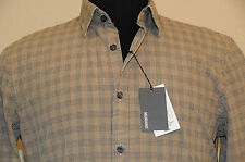 MURANO Mens Long Sleeve Fitted Shirt Washed Cotton Brown Plaid SZ L New MSRP $75
