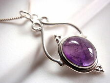 Amethyst Pendant Beautifully Accented Cabochon 925 Sterling Silver New 3.5ct