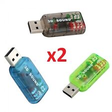 2x USB 5.1 Sound Card Adapter with Headphones & Microphone Port for Pc & Laptop