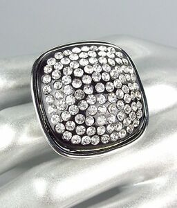 Gorgeous CHUNKY Square Silver Black Lucite CZ Crystals Stretch Cocktail Ring