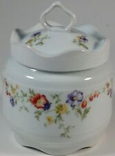 Lec (Leclair) Limoges France Large White Porcelain Colorful Floral Jar