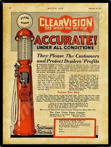 1921 Clear Vision Pump Co. New Metal Sign: Visible Gas Pumps - Wichita, Kansas