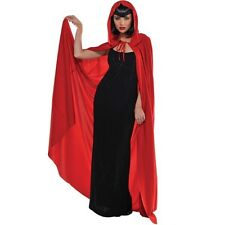 Hooded Adult Long Red Cape Witch Riding Hood